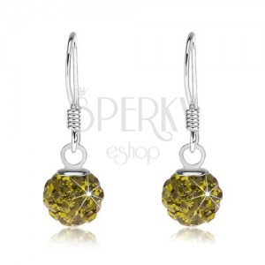 Golyós fülbevaló 925 ezüstből, Preciosa kristályok zöld színben, 6 mm