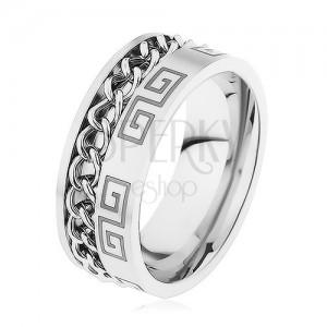 Acél gyűrű ezüst színben, bemetszés lánccal, görög kulcs