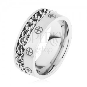 Gyűrű 316L acélból, ezüst szín, lánc, keresztek körökben