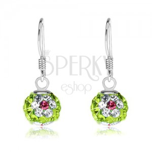 Fülbevaló 925 ezüstből, zöld golyók, virágok átlátszó-rózsaszín kristályokból, 8 mm