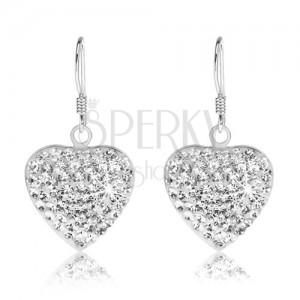 Csillogó fülbevaló, 925 ezüstből, szívecske átlátszó Preciosa kristályokkal kirakva