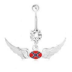 Acél köldökpiercing, cirkónia, konfödrációs zászló motívum, szárnyak