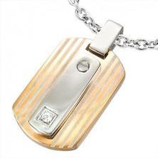 Réz és ezüst színű medál acélból - tábla és cirkónia
