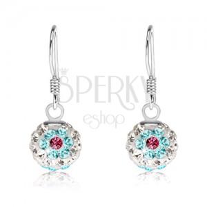 Fülbevaló 925 ezüstből, fehér golyók, virágok kék-rózsaszín kristályokból, 8 mm