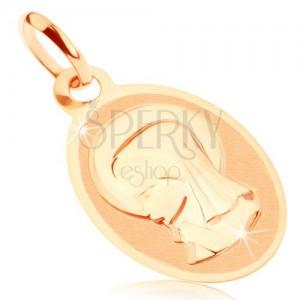 Medál 9K sárga aranyból - ovális medál Szűz Máriával, fényes-matt