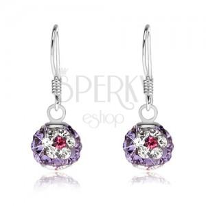 Lila golyós fülbevaló, 925 ezüst, átlátszó-rózsaszín virágok kristályokkal, 8 mm