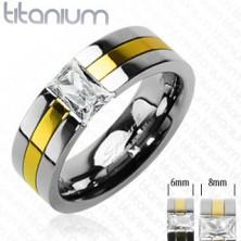 Titán karikagyűrű - arany sáv, egy cirkonkő
