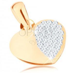 375 arany medál - fényes szimmetrikus szív, csillogó fél