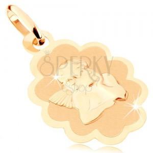Medál 9K sárga aranyból - matt tábla angyallal, fényes díszkeret