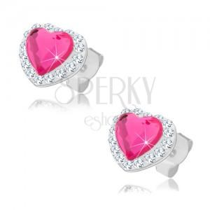 Bedugós fülbevaló 925 ezüstből, rózsaszín szívecske, átlátszó Preciosa kristályok