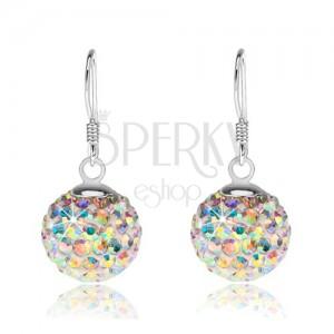 Fehér golyós fülbevaló 925 ezüstből, kristályok szivárvány fénnyel, 12 mm