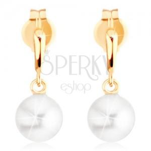 Fülbevaló 9K sárga aranyból - szűk könnycsepp, fehér gyöngy