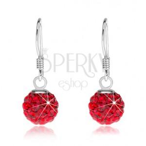 925 ezüst fülbevaló, Preciosa kristály piros színben, 8 mm