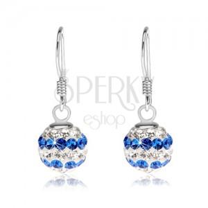Golyós fülbevaló 925 ezüstből, átlátszó és kék Preciosa kristályok, 8 mm