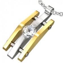 Bordás acél medál cirkóniával, ezüst és arany színben