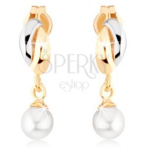 375 arany fülbevaló - kétszínű félholdak, fehér gyöngy