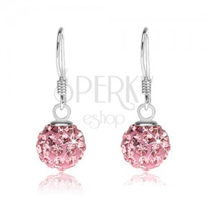 925 ezüst fülbevaló, csillogó rózsaszín golyó afrikai horgon, 8 mm
