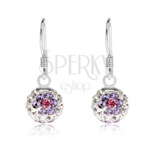 Fehér golyós fülbevaló, 925 ezüstből, csillogó lila-rózsaszín virágok, 8 mm
