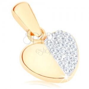 375 arany fülbevaló - egyenletes szívecske, sima és csillogó fél