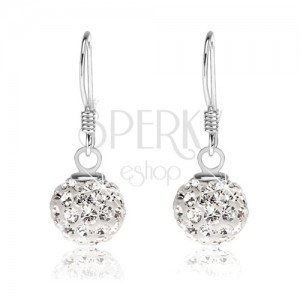 Fülbevaló 925 ezüstből, fehér golyók átlátszó Preciosa kristályokkal, 8 mm