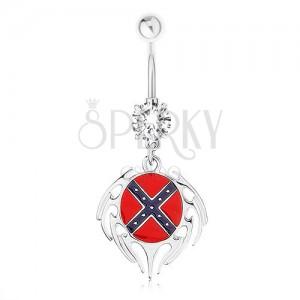 Acél piercing köldökbe, átlátszó cirkónia, ovális déli zászlóval, keret