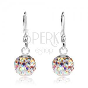 925 ezüst fülbevaló, fehér golyók, szivárványos Preciosa kristályok, 8 mm
