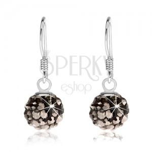 Golyós fülbevaló 925 ezüstből, fekete felület, acélszürke kristályok, 8 mm