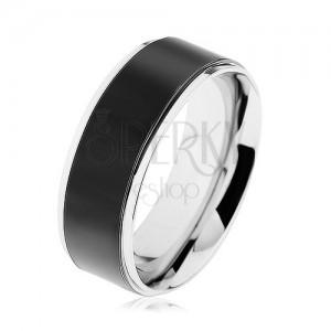 Gyűrű 316L acélból, fekete sáv, magas fényű keret ezüst színben