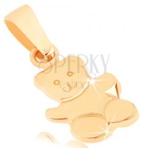 375 arany medál - fényes integető maci, gravírozott részletek