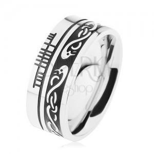 Szélesebb gyűrű, 316L acél, fekete sáv, kelta minta, ezüst keret