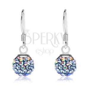 925 ezüst fülbevaló, golyók, Preciosa kristályok - kék és szivárvány fényű, 8 mm