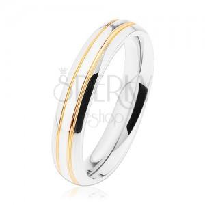 Fényes acél gyűrű, ezüst árnyalat, vékony sávok arany színben