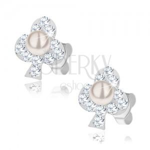 Fülbevaló 925 ezüstből, fehér lóhere - átlátszó kristályok, gyöngyházfényű golyó