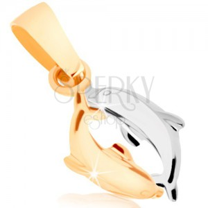 Kétszínű 375 arany medál - két delfin, fényes kidomorodó felület