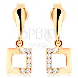 375 arany fülbevaló - négyzet kontúr cirkóniás féllel, szűk könnycsepp