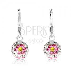 Fülbevaló 925 ezüst, fehér golyók, virágok rózsaszín-sárga kristályokból, 8 mm