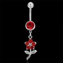 Köldökékszer - piros virág