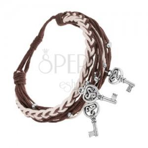 Állítható zsinóros karkötő, sötétbarna és fehér szín, acél kulcsok