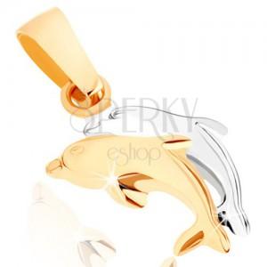375 arany medál - kétszínű ugró delfinek, sima kidomborodó felület