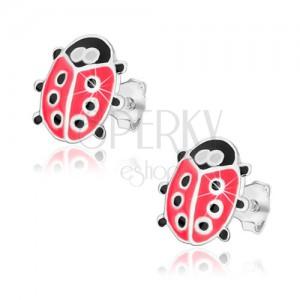 925 ezüst fülbevaló, katicabogár rózsaszín és fekete fénymázzal, stekkerek