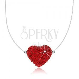 Nyakék 925 ezüstből, szív piros színben kristályokkal díszítve, műanyag zsinór