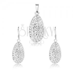 925 ezüst szett, medál és fülbevaló, kidomborodó lekerekített könnycsepp, átlátszó kristályok
