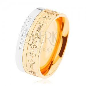 Kétszínű acél gyűrű - arany és ezüst árnyalat, minta - kelta keresztek