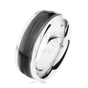 Gyűrű 316L acélból, fekete sáv, ezüst keret, magas fény
