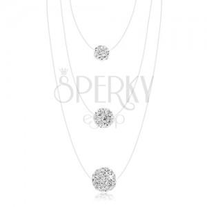 Nyakék 925 ezüstből, műanyag zsinór, fehér golyók - különböző nagyságok, átlátszó kristályok