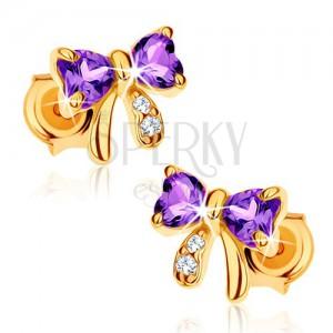 585 arany fülbevaló - masni lila ametisztből, átlátszó cirkóniák