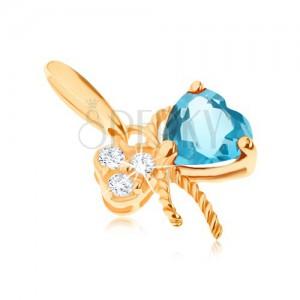 585 arany medál - masni, kék topázzal és átlátszó cirkóniákkal díszítve