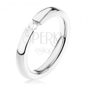 Acél gyűrű, ezüst árnyalat, apró átlátszó cirkónia, magas fény
