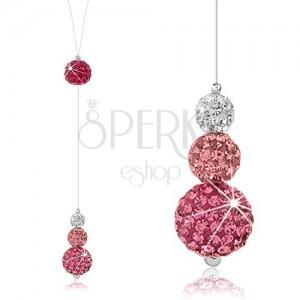 Csillogó nyakék, 925 ezüst, golyók kristályokkal műanyag zsinóron, fehér és rózsaszín szín