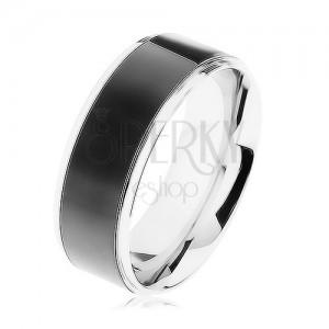 Acél gyűrű, fekete sáv, ezüst keret, magas fény